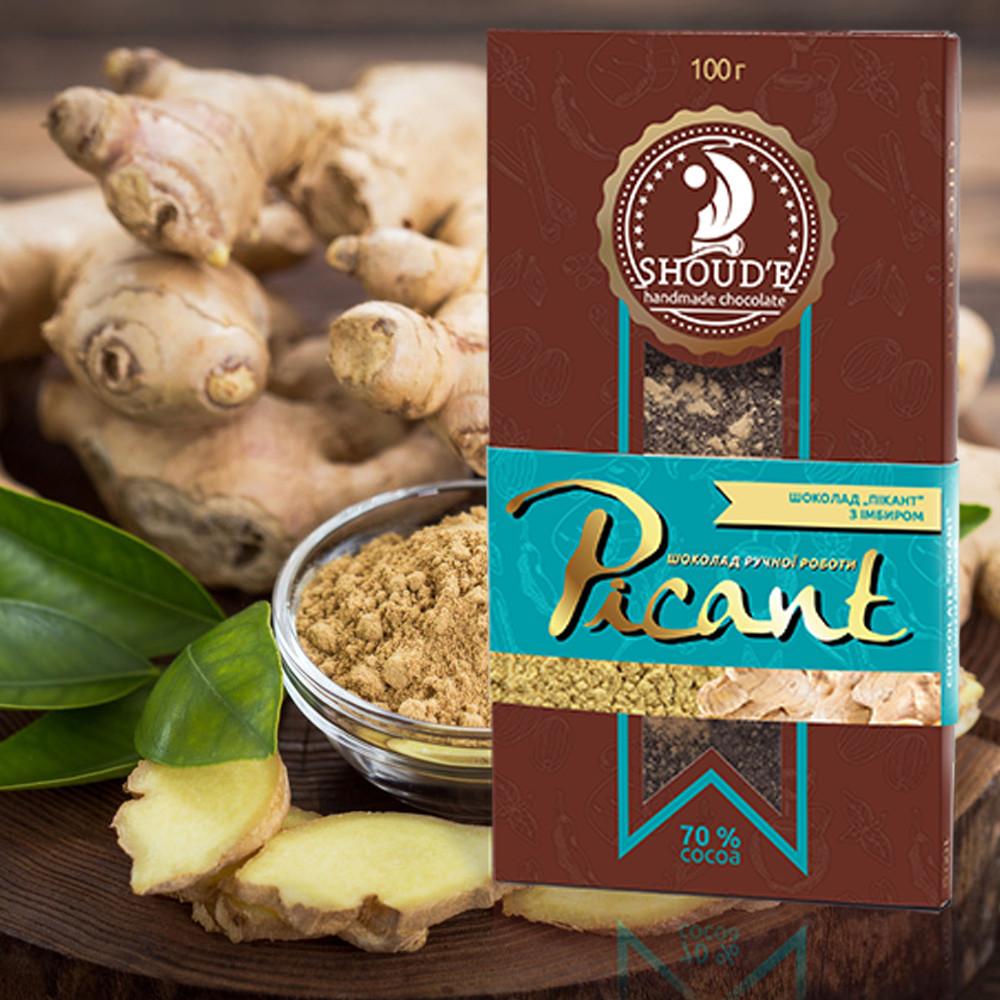 Черный натуральный шоколад Имбирь Picant, 100 грамм