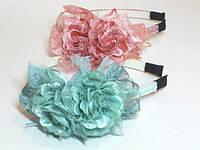 Обруч для волос белый пластик, тесьма, лента, кружево розы, ширина 9 мм (6 шт)