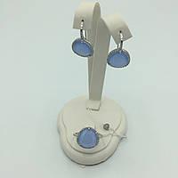 Комплект серебряных изделий серьги, кольцо. Кварц