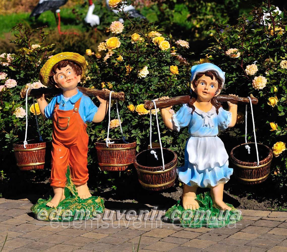 Садовая фигура подставка для цветов Водонос и Девочка с коромыслом
