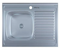Мойка для кухни накладная прямоугольная левая 800 х 600 x 175/180 IMPERIAL 0,8 матовая