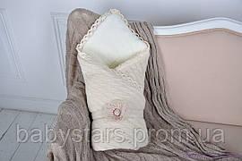 Вязаный махровый конверт-одеяло, бежевого цвета