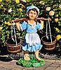 Садовая фигура подставка для цветов Водонос и Девочка с коромыслом, фото 2