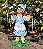 Садовая фигура подставка для цветов Водонос и Девочка с коромыслом, фото 4