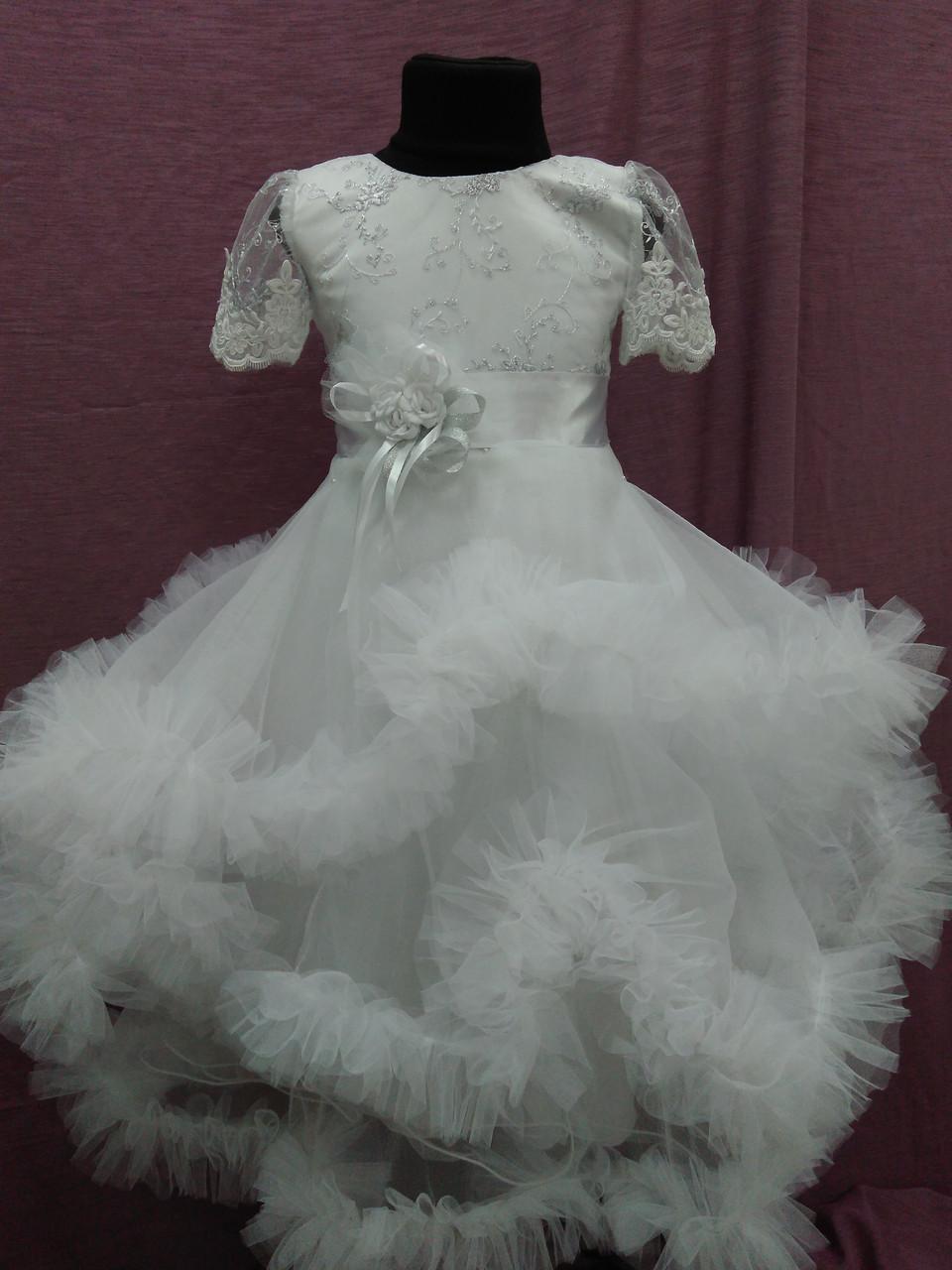 Платье детское нарядное с пушистой юбочкой на 4-6 лет белое
