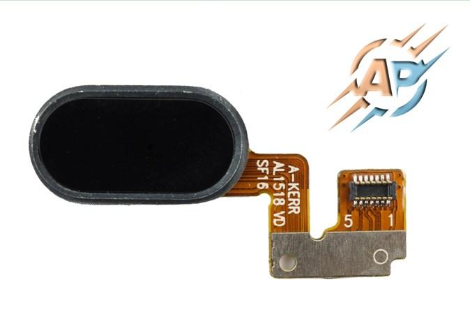 Кнопка сенсорная для  смартфона Meizu M3 Note черная. Тип 2. 7 pin.