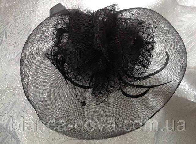 Шляпка-вуалетка《Бант》 , вечерняя, на заколках.