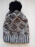 Женская зимняя шапка. Меховой бубон. Флис d72ba76448077