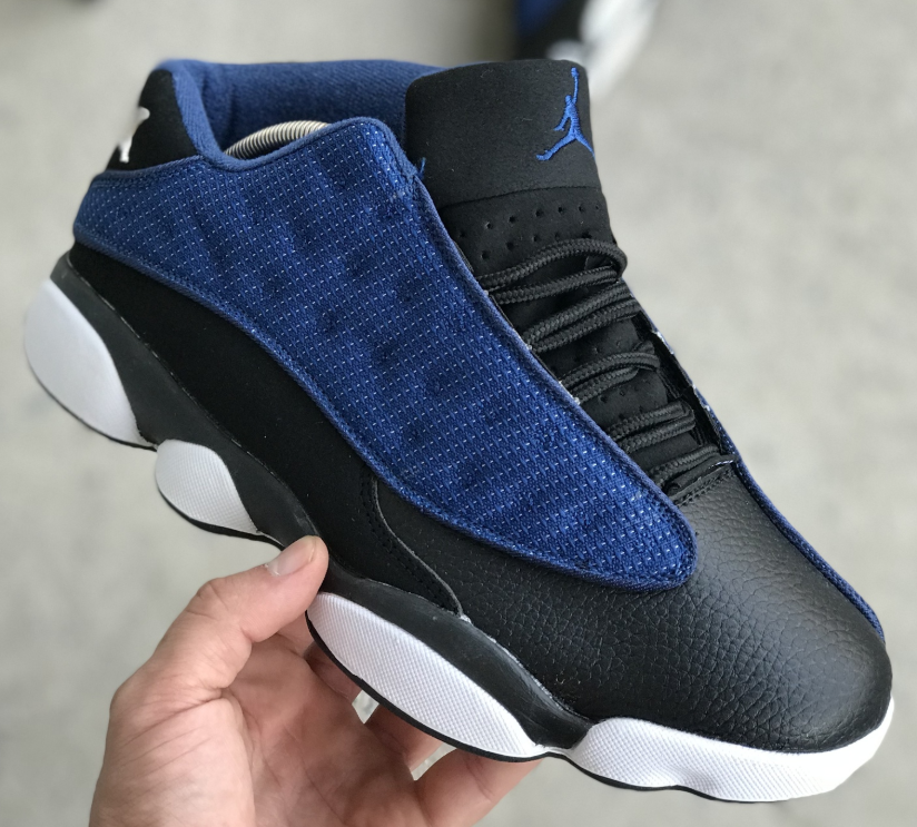 Кроссовки Мужские Nike Air Jordan 13 Retro Low (Blue / Metallic Silver - Black), найк джордан