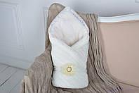 Вязаный махровый конверт-одеяло, молочного цвета, фото 1