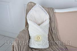 Вязаный махровый конверт-одеяло, молочного цвета