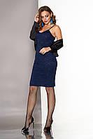 """Нарядное гипюровое облегающее платье на бретелях по колено с шелковой накидкой-болеро """"А-124"""" синее"""