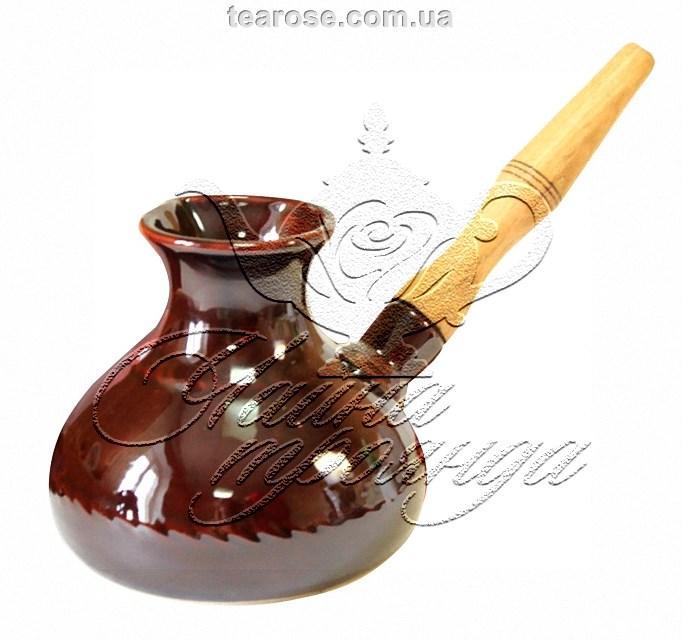 Керамічна кавова турка з дерев'яною ручкою 600 мл