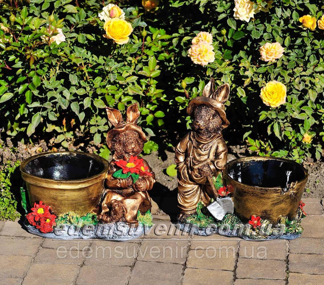 Садовая фигура Заяц малый и Зайчиха малая