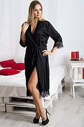 Шелковый халат черный женский длинный с кружевом