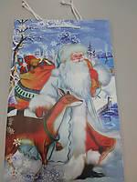 Подарочный пакет бумажный с рисунком дед мороз