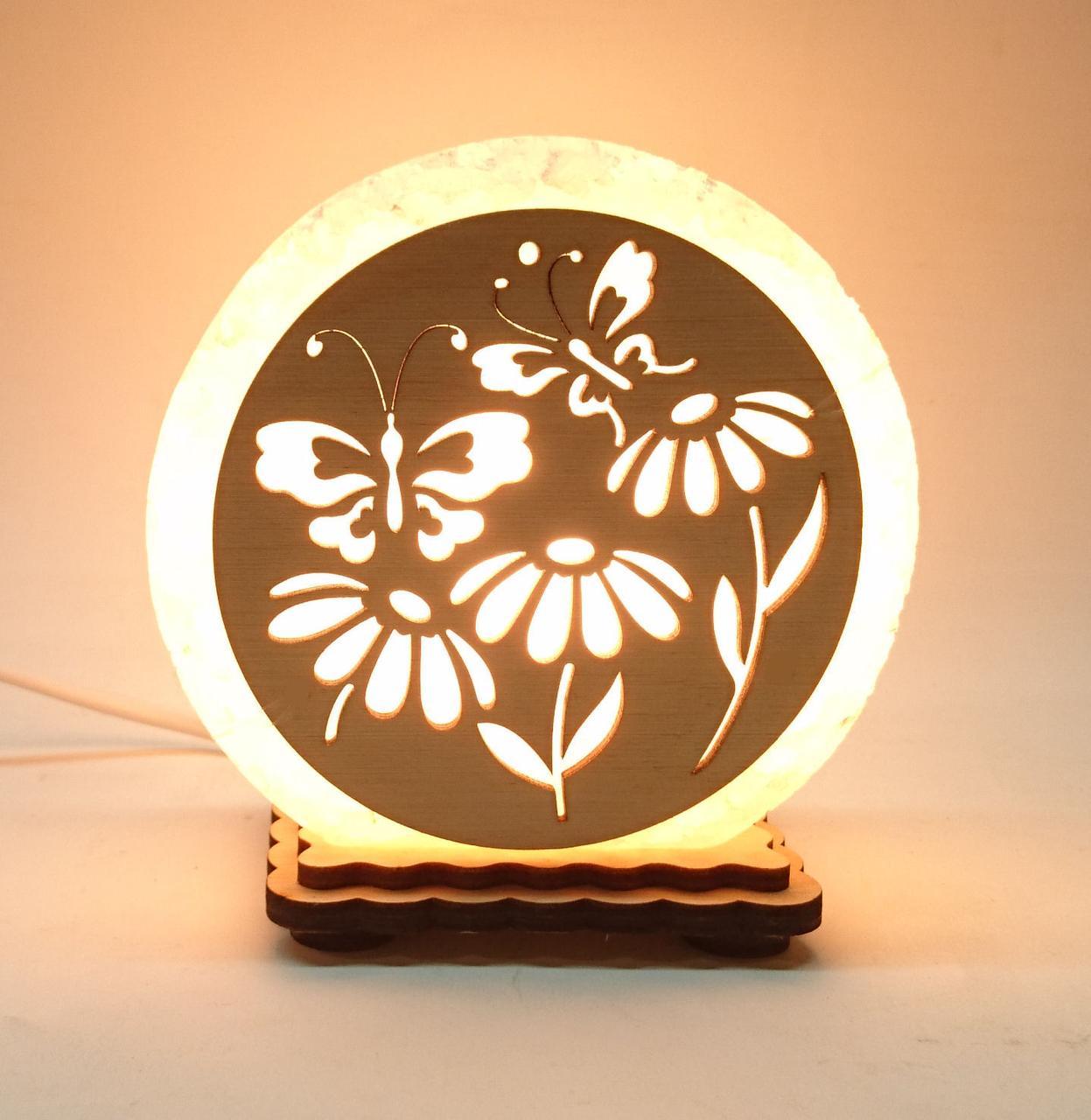 """Соляная лампа круглая маленькая """"Бабочки в цветах"""""""