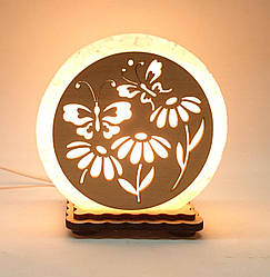 "Соляна лампа маленька кругла ""Метелики в квітах"""