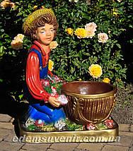 Садовая фигура подставка для цветов Иванко и Галочка, фото 2