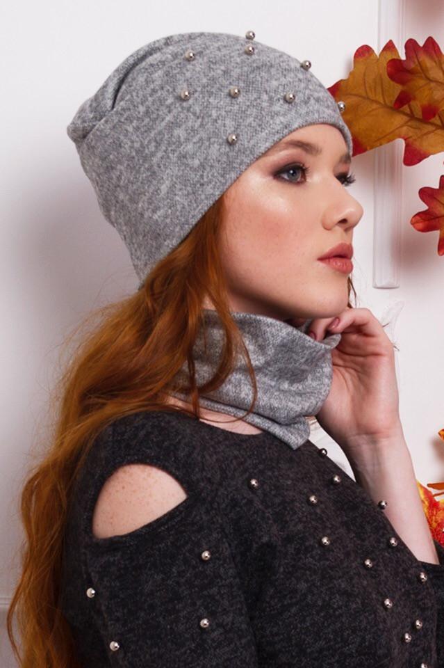 Набор шапка с бусинами и шарф-хомут из ангоры
