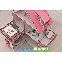 """Кукольный домик для Лол NestWood """"РОЗОВЫЙ МИНИ КОТТЕДЖ"""", 5 комнат (этаж 20 см) + Мебель 9 единиц, фото 3"""