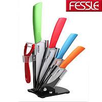 Набор ножей керамических FESSLE (подставка + 4 ножа + овощечистка) Цветной, фото 1