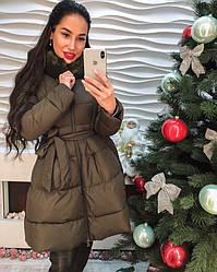 Стильное женское пальто с мехом. пояс только хаки качество люкс