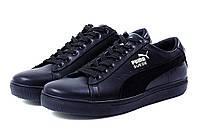 Мужские кожаные кеды Puma SUEDE Black leather (реплика)