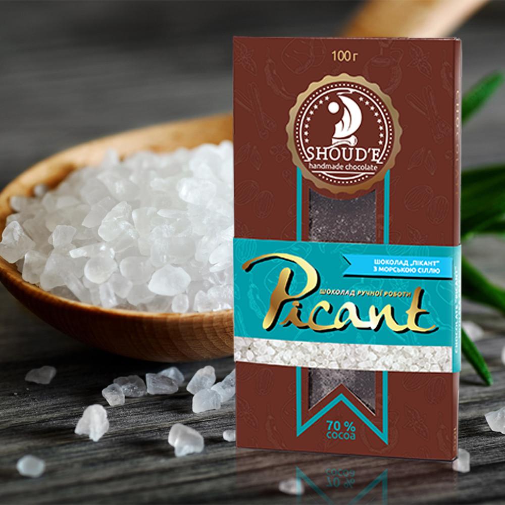 Черный шоколад Морская соль Пикант, 100 грамм