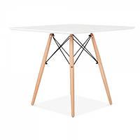 Квадратный стол Квадро белый на буковых ножках, 70*70 см