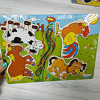 Деревянная игра Шнуровка