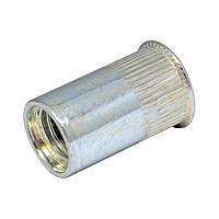 Гайка клепальная, потайная головка, рефленая М6 х 0,5-2,5 мм (упаковка 500 шт.)