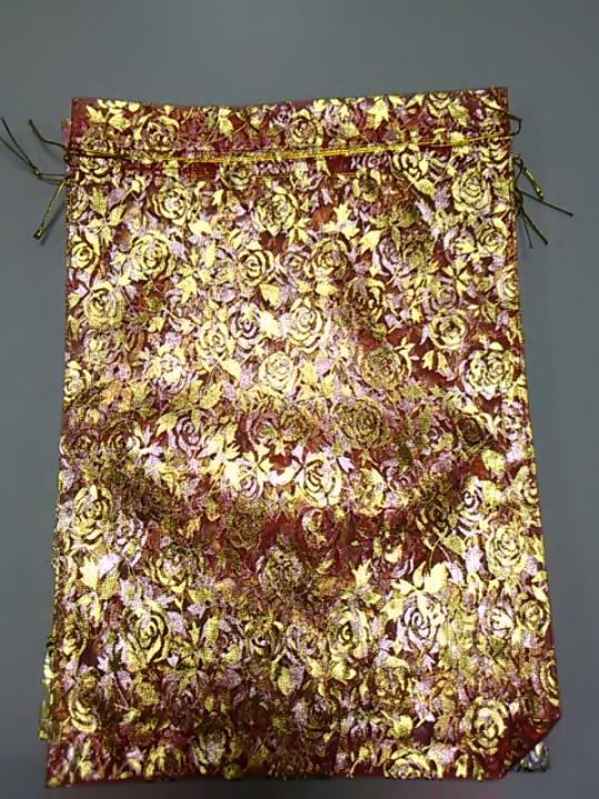 Подарочный мешочек из органзы красный с рисунком розы