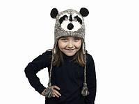 Шапка с ушками детская Raccoon Animals Kathmandu Ручная работа 100% шерсть яка Free size (22904)