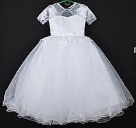 """Платье нарядное детское """"Юнона"""" с рукавчиком. 8-9 лет. Белое. Оптом и в розницу, фото 1"""