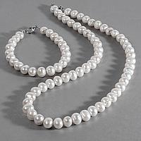 Жемчуг белый, Ø9 мм., комплект браслет и бусы, 052НЖ