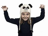 Шапка с ушками детская Animals Panda Kathmandu Ручная работа 100% шерсть яка Free size (22908)
