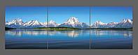 Модульная картина на стекле Горное озеро 120*40 см