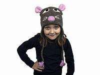 Шапка с ушками детская Animals Mouse Kathmandu Ручная работа 100% шерсть яка Free size (22927)