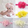 Повязка детская на голову Роза белая бантики детские для волос цветочек детские украшения, фото 4