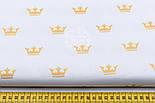 """Хлопковая ткань с глиттерным """"Золотые короны"""" на белом (№1652а) , фото 2"""