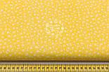 """Хлопковая ткань """"Микро цветочки"""" белые на жёлтом ( №1656а), фото 2"""
