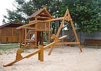 Детский игровой комплекс с домиком, горкой и качелями 006