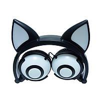 Навушники LINX Bear Ear Headphone навушники з вушками Лисички LED Чорний (SUN2648)