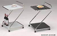Сервировочный столик W-112 (SC-5103 WT), белая стеклянная сервировочная тележка на колесиках