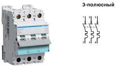Автоматический выключатель 16 А, 3п, D, 10 kA, hager (Франция)