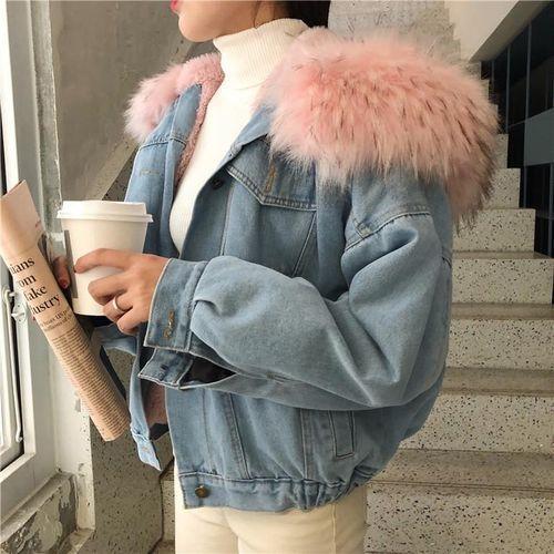 Куртка джинсовая короткая на подкладке из розового искусственного меха - 222-03