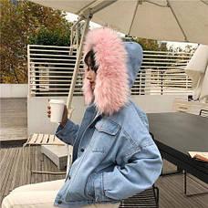 Куртка джинсовая короткая на подкладке из розового искусственного меха - 222-03, фото 3