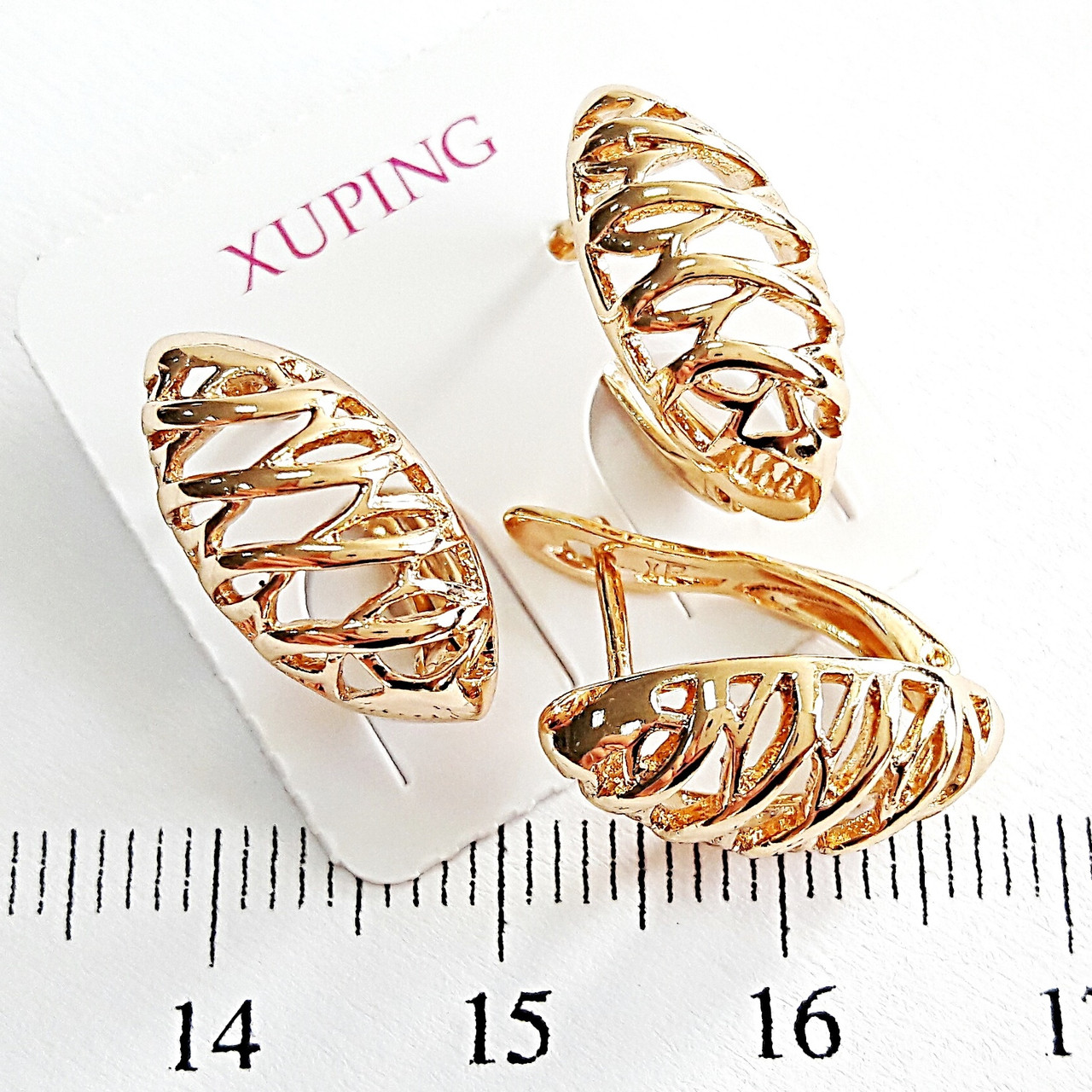 Серьги Xuping позолоченные c узором 1.6см с1014