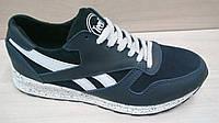 Подростковые темно-синие замшевые кроссовки  Reebok (реплика)